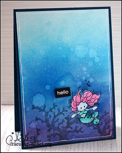 "Karte ""little mermaid"", mit Ranger Distress Ink & whipper snapper design 