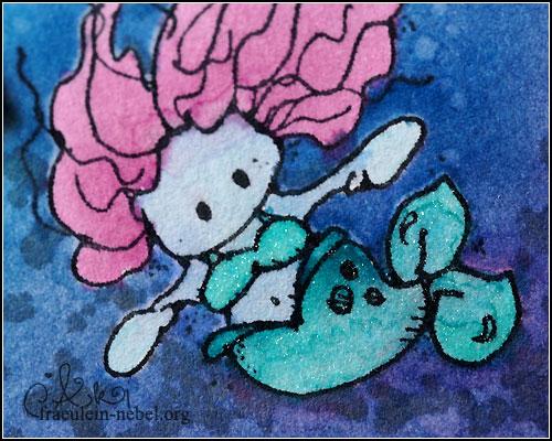 """Karte """"little mermaid"""", mit Ranger Distress Ink & whipper snapper design   © fraeulein-nebel.org"""