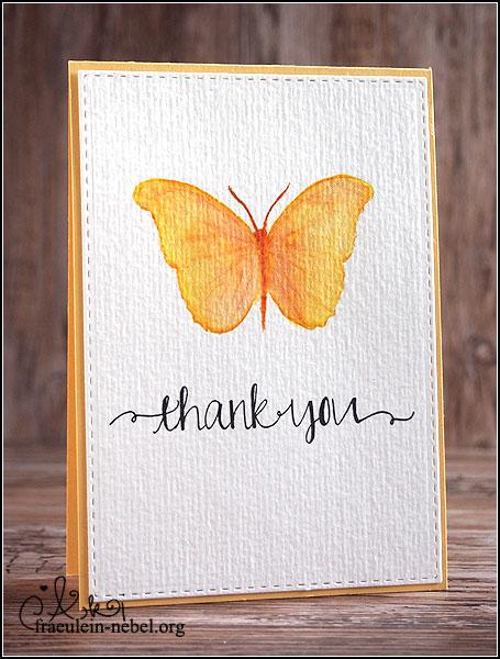 handgemachte Dankeskarte mit Schmetterling, no line coloring, mit Wplus9 und Ranger | fraeulein-nebel.org