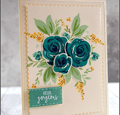 """Karte mit Blumenbouquet """"hello gorgeous"""" mit Wplus9 und Stampin' Up!   fraeulein-nebel.org"""