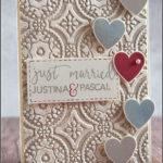 """[Werkeltisch] #168 – Hochzeitskarte mit Stampin' Up! und Concord&9th """"just married"""""""