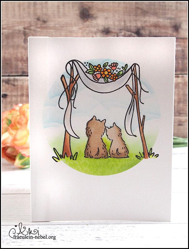 handgemachte Hochzeitskarte mit lawn fawn, Waffle Flower und Mama Elephant für die #alpakahochzeit | fraeulein-nebel.org