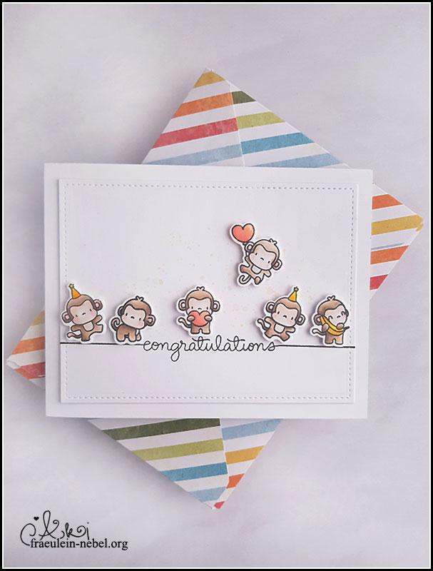 """Geburtstagskarte mit """"little monkey agenda"""" von Mama Elephant"""